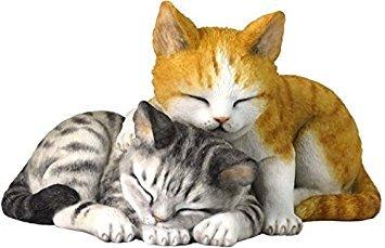 5.13 Inch Sleeping Tabby Kittens Decorative Figurine, Orange and Gray