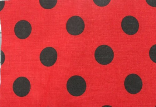 Polka Dot Poly Cotton Fabric Red / Black