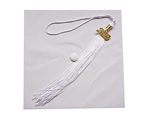 Matte Adult Unisex Graduation Cap With Tassel 2019 Year Charm Grad Days White -