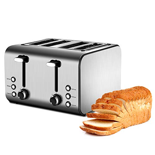 4-Slice Extra-Wide Toaster with 7 Toast Shade Settings, Reheat, Defrost and Cancel Function, Removable Crumb Trays, Stainless Steel (Four Slot)