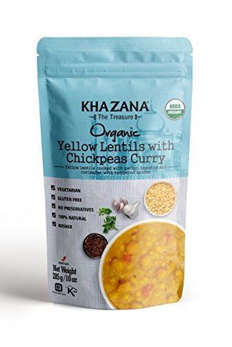 Khazana Gourmet Indian Entree, USDA-ORGANIC, Yellow Lentils with Chickpeas Curry, 10oz (6 Pack) (Fully Cooked & Ready-to-Eat Vegan/Vegetarian Meal or Dinner for a tasty bite of Indian Kitchen ()