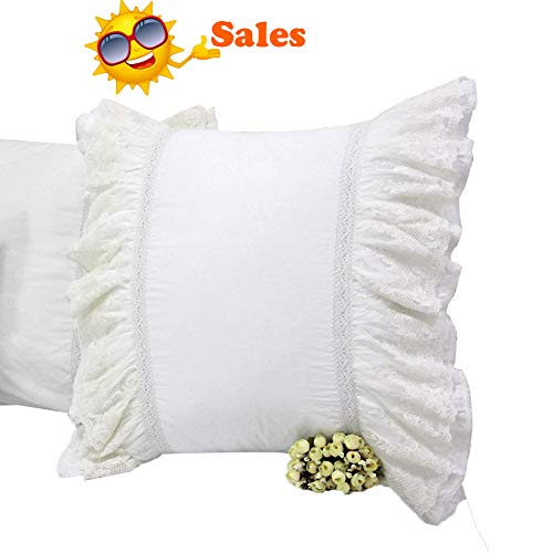Queen's House Romantic Lace Pillow Covers Euro Shams Set of 2-Style N (Linen House Euro Sham)