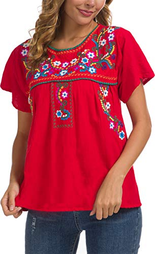 YZXDORWJ Women's Summer Casual Embroidered Blouse Short Sleeve Tops