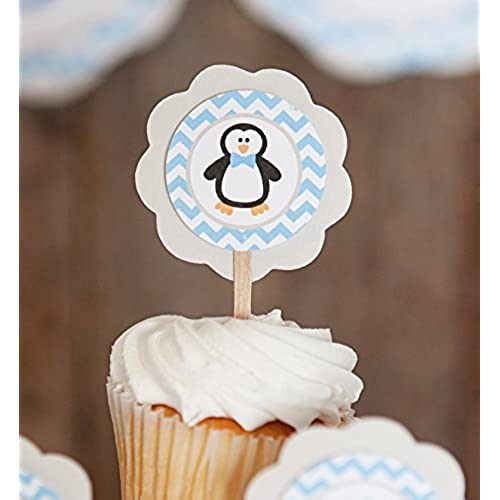 Penguin CUPCAKE TOPPERS   Blue Penguin Cupcake Toppers   Birthday Party Or Baby  Shower Decorations (12 Pack)