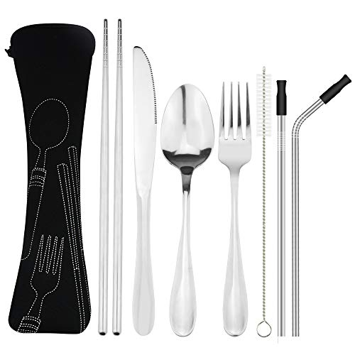 Reusable Utensils 7 Pieces Knife Fork Spoon Chopsticks Straws Set, Rustproof Stainless Steel Tableware Dinnerware with Carrying Case for Traveling Camping Picnic Working Hiking(Dishwasher Safe)