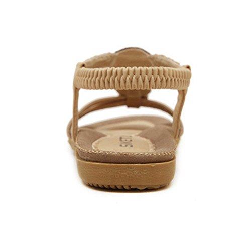 Chfso Kvinna Nya Mjuka Pärlstav T Band Plus Flats Sandals Skor Aprikos