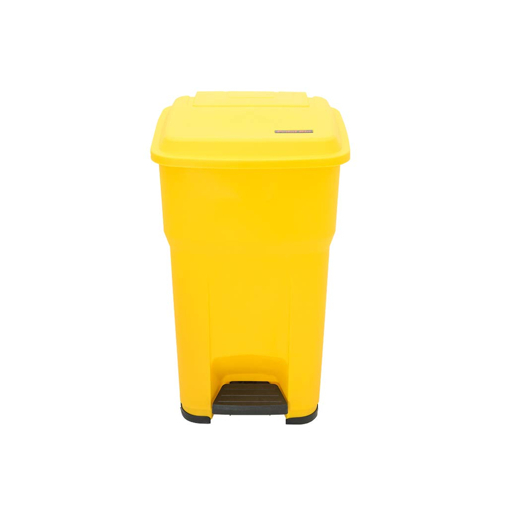 Trash can Trash can Medical Waste Garbage Pedal Yellow Large Outdoor Recycling Box Waste Bin (Color : Yellow)