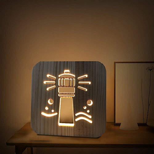 Wooden Lighthouse Led Lamp for Children, LeKong 3D Wooden Carving Patterns, USB Plug in, Gift for Birthday & Friendship, Fit for Halloween & Christmas Decoration, 2018 New by LeKong (Image #2)
