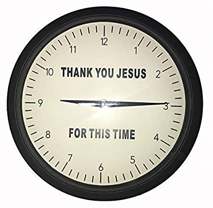 {Thank You Jesus for This Time} Wall Clock 10-Inch Black and White