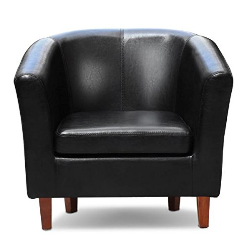 Popamazing Living Room Office Waiting Room Leather Reception Tub Sofa Chair  Armchair In Black/Brown