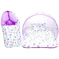 Toddylon Baby Fly Mattress with Mosquito Net and Sleeping Bag Combo for Babies (Multicolour, 0-8 Months)