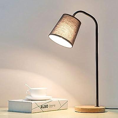 Lámpara Mesa Madera Anillo Protección Ocular, Interruptor Botón ...