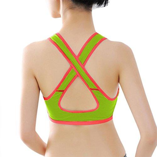 Sport-BH HARRYSTORE Mujer sosténes deportivas y cómodos de yoga Ropa interior Push Up Camisetas sin mangas para correr Fitness Verde
