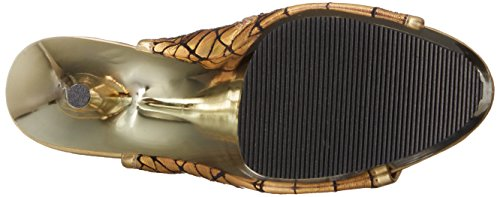 Pleaser Women's Del1018hg/Gpu/Gch Boot Gold Hologram Ostrich Polyurethane/Gold Chrome rJEat