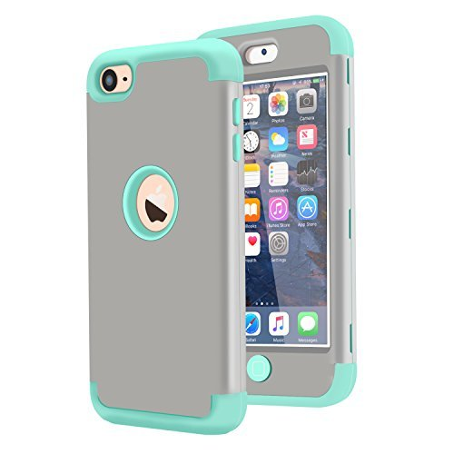 TENKER 3in1 Hybrid Full Body Impact Resistant Shockproof Soft Silicone Bumper Case Cover for Apple iPod Touch 5th/6th Generation (Grey+Wint Green) (Case Grey Ipod 5)