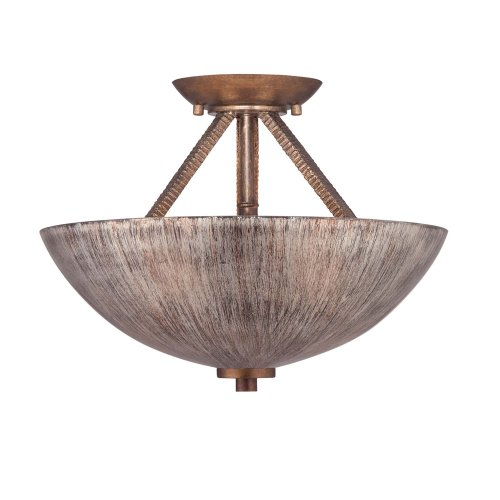 Savoy House 6-4127-2-166 Semi-Flush with Hand Painted Shades, Warm Brandy (Antique Copper Semi Flush)