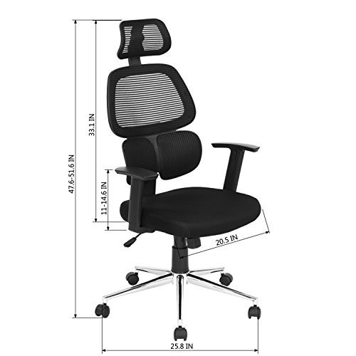 Ergonomic Mesh Office Chair High Back Swiver Computer Desk Task Chairs with Adjustable Lumbar Support, Backrest, Headrest, Armrest and Seat Height for Home Office Conference Room ¡