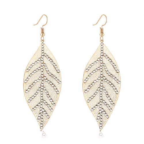 (Filigree Copper Leaf Earrings Fashion Style Leaf Shape Dangle Earring Long Teardrop Dangle Drop Earrings For Women Girls(Rhinestone gold))