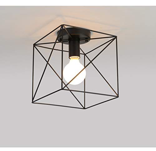 RUXUE Industrial Modern Semi Flush Mount Ceiling Light with Square Cage Black for Hallway Closet (Diameter 20cm)