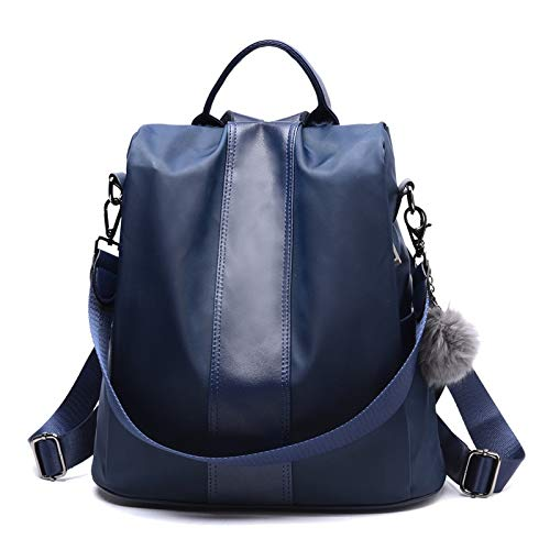 UltraZhyyne - Leather Anti-Thief Women Backpack Large Capacity Hair Ball School Bag for Teenager Girls Male Travel Bags[Blue]