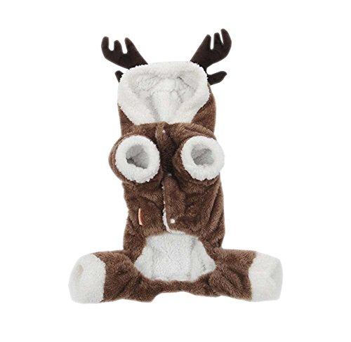[ARJOSA Puppy Dog Cat Jumpsuit Pet Clothes Halloween Reindeer Hoodie Costume Coat (M, Brown)] (Pet Costumes Halloween)