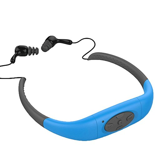 TechCode Watersports Headsets, Waterproof MP3 Music Player Sport Earbuds Neckband Stereo Headphone W/FM Radio Built in 8GB Memory Storage Headset for Swimming Surfing Running Gym Workout(Blue)