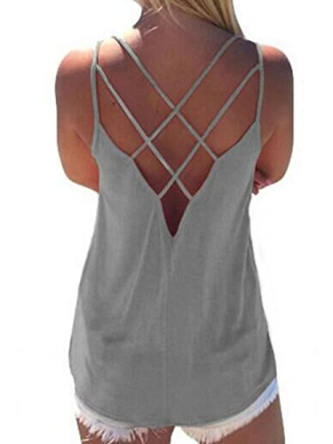 5c88971f4523f4 Women s Cute Criss Cross Back Tank Tops Loose Hollow Out Camisole Shirt  (Small