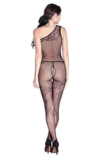 Asymmetric nero floreale sheer Suspender Bodystocking lingerie Club Wear Pole Dancer taglia UK 8 10 12 14 EU 36 38 40 42