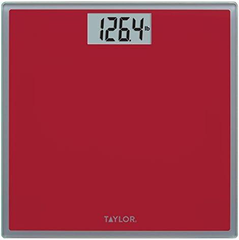 Taylor Digital Glass Bathroom Scale Crimson w Grey Trim