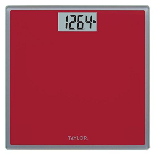 Taylor Digital Glass Bathroom Scale (Crimson w/ Grey Trim)