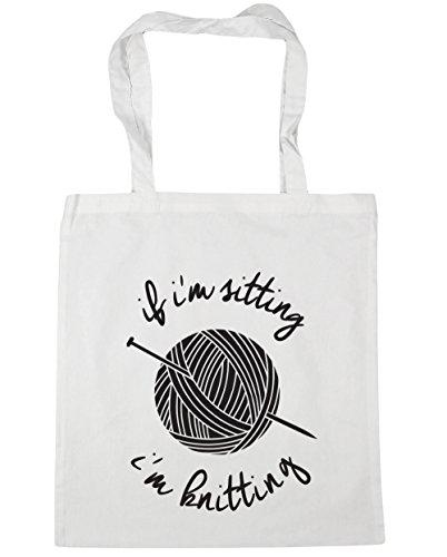 HippoWarehouse If I'm Sitting I'm Knitting Tote Shopping Gym Beach Bag 42cm x38cm, 10 litres White