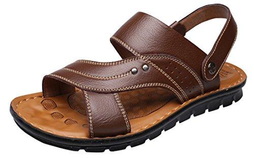 Vocni Men's Open Toe Casual Leather Comfort Shoes Sandals Large Size,Brown_01,EU 44-10D(M) US ()