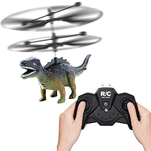 Price comparison product image GBSELL Dinosaur RC Helicopter Flashing Flying Toy Child Birthday Xmas Party Gift (Army Green)