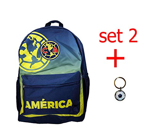 FC Barcelona Backpack School Mochila Bookbag Cinch Shoe Bag Official Messi 10 (Club America Set Navy) ()