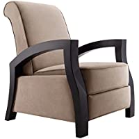 Artiva USA KUTA Solid Wood Java Black Premium Brown Microvelvet Recliner, Brown