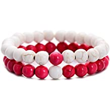 LALANG 2PCS Red White Bracelets Handmade Agate beads bracelet Charms for sweetheart