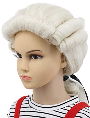 (Karlery Kids Child Long Wave White Wig Halloween Costume Wig Anime Cosplay)