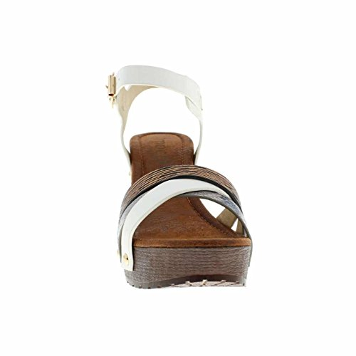 Moca Mid Hoge Hak Womens Casual Faux Wood & Leather / W Multi-band Snake Print Design Madden-81 Wit