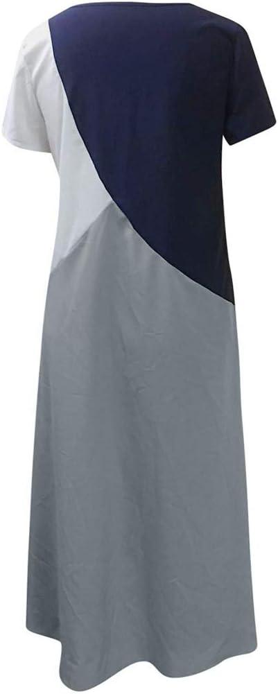 Swiusd Womens Short Sleeve Beach Maxi Dresses Retro Patchwork Solid O Neck Dress Comfy Short Sleeve Dresses Clearance