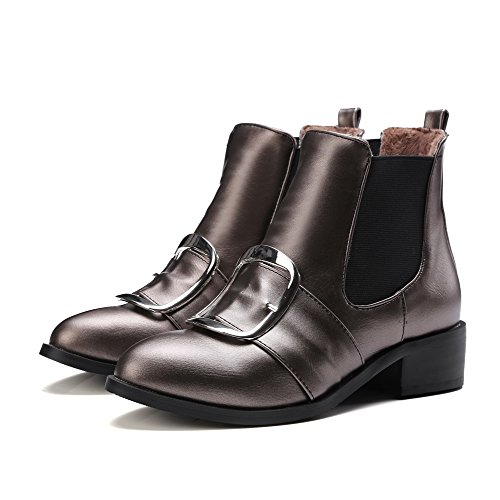 Closed Pull Low Round On PU Boots Brown Toe Heels AgooLar Top Women's Low Ixqw65tY