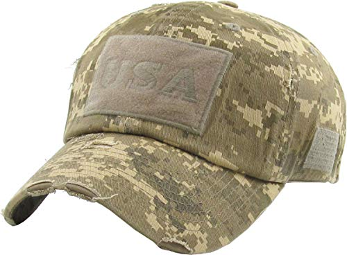 Army Baseball Cap Hat - KBVT-210 DIGI-DES Tactical Operator with USA Flag Patch US Army Military Baseball Cap Adjustable