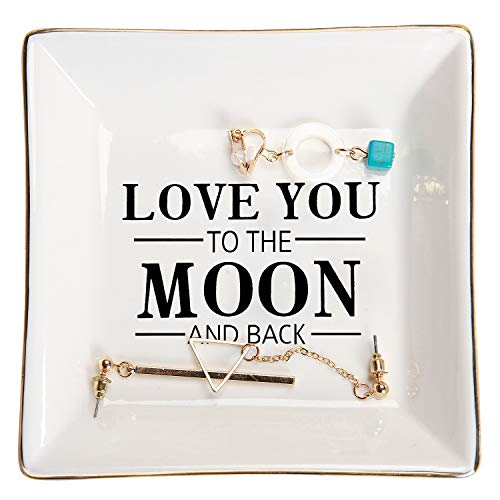HOME SMILE Girlfriend Gifts Ring Trinket Dish for Birthday Valentine Anniversary-I Love You to The Moon and Back