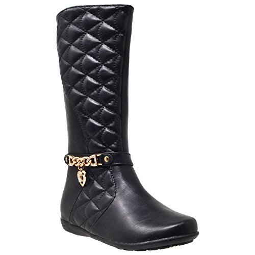 (Girl's Mid Calf Knee High Boots Quilted Leather Gold Train Trim Heart Charm Riding Shoes Black SZ 4)