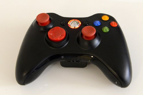 Xbox 360 Modded Controller 10 Mode Rapid Fire Wireless with Red D-pad, Led, and Thumb Sticks for COD Advanced Warfare, Ghost, Mw3, Black Ops 2