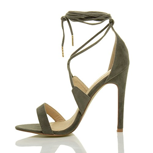 Barely Lace Women up Ajvani khaki Heel suede Sandals High There Tie Size qwXgt4T