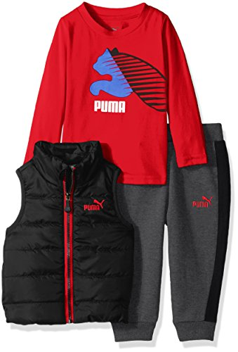 Price comparison product image PUMA Little Boys' 3pc Vest, Tee, and Pant Set, Puma Black, 6
