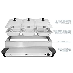 Elite Platinum EWM-6171 Triple Server Food Warmer, Adjustable Temp for Parties & Holidays, 3 x 2.5Qt Buffet Trays and Slotted Lids, Perfect, Entertaining, 3 x 2.5 Quart, Stainless Steel