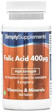 Folic Acid (Vitamin B9) 400mcg | 360 Tablets = Up to 1 Year Supply | Pregnancy Care | Manufactured in The UK
