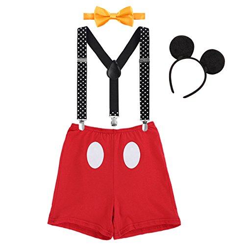 IBTOM CASTLE Baby Boys First Birthday Christmas Costume Cake Smash Outfits Y Back Suspenders Bloomers Bowtie Set Mouse Ear #5 Red+Black Boxer Pants Outfits 12-18 Months
