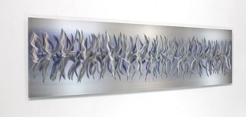"Statements2000 Unique Silver & Purple Modern Metallic Wall Accent with Abstract Etchings - Home Decor, Contemporary Metal Wall Art - Purple Array by Jon Allen - 48"" x 12"""